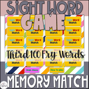 Sight Word PowerPoint Memory Match Game {Third 100 Fry Words}