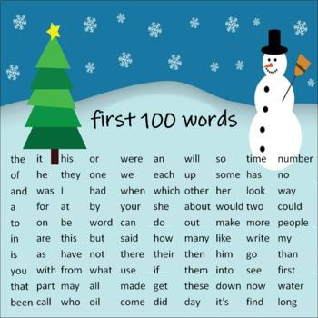 Sight Word PowerPoint (first 100 words) Winter Scene
