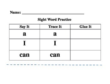 Sight Word Practice 1