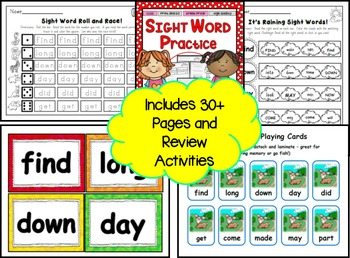 Sight Word Practice 10: find, long, down, day, did, get, come, made, may, part