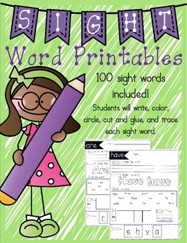 Sight Word Practice 100 sight words included!
