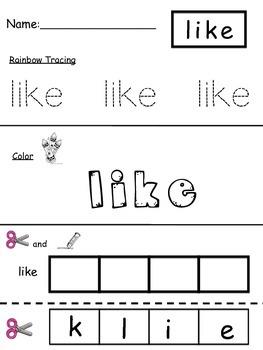 Beginning Sight Word Practice
