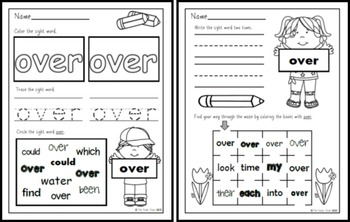 Sight Word Pack 11: over, new, sound, take, only, little, work,know,place, years