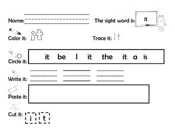 Dolch Pre-Primer Sight Word Activities and Practice