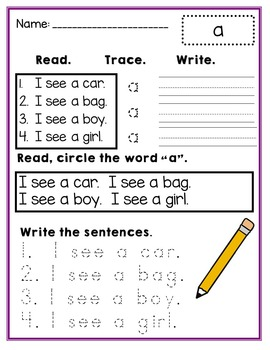 Sight Word Practice pre primer