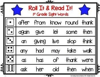 Sight Word Practice:  1st Grade