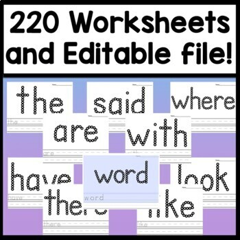 Sight Word Activities with Paint and Q-Tips {220 Pages!}