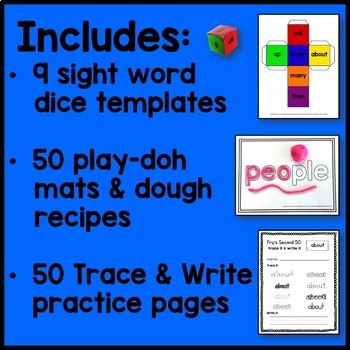 Fry's 2nd 50 Sight Word Bundle (Play-Doh Mats, Dice, Tracing Sheets)