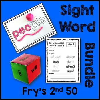 Fry's 2nd 50 Sight Word Bundle (Play-Doh Mats, Dice, Traci