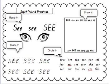 Sight Word Drill Vic Cursive