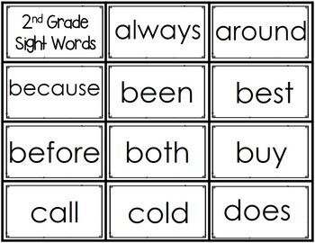 Sight Word Practice: 2nd Grade