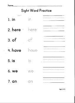 Sight Word Practice #3