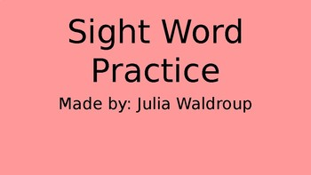"Sight Word ""a"" Practice"