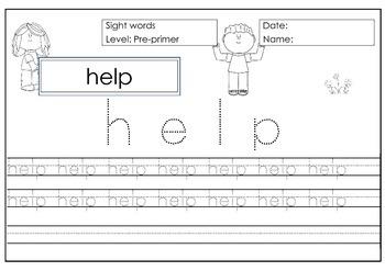 Sight Word Practice - 40 Worksheets Level Pre-primer