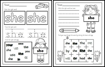 Sight Word Practice 5:  there, use, an, each, which, she, do, how, their, if
