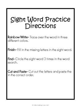 No Prep Sight Word Activities { 88 Sight Words }