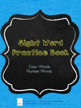 Sight Word Practice Books:  Color and Number Words