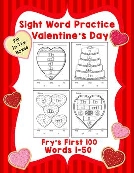Sight Word Practice Boxes, Fry's First 100, Words 1-50, Valentines