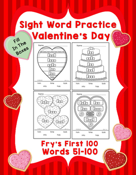 Sight Word Practice Boxes, Fry's First 100, Words 51-100, Valentines