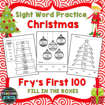 Sight Word Practice Boxes, Fry's First 100, Words 51-100, Christmas