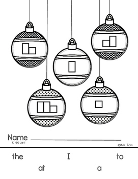 Sight Word Practice Boxes, Literacy First Kindergarten Words 1-50, Christmas