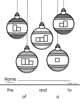 Sight Word Practice Boxes, Literacy First List A, Words 1-50, Christmas
