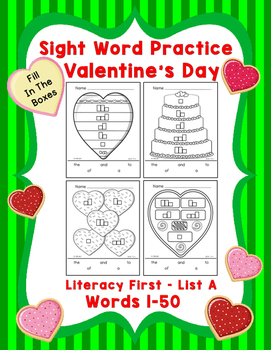 Sight Word Practice Boxes, Literacy First List A Words 1-50, Valentines