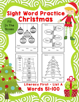 Sight Word Practice Boxes, Literacy First List A, Words 51-100, Christmas