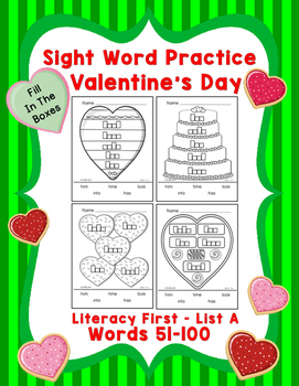 Sight Word Practice Boxes, Literacy First List A Words 51-100, Valentines