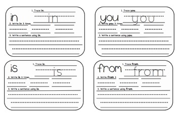 Sight Word Practice Cards/Fast Finisher/Task Cards: 100 Cards!