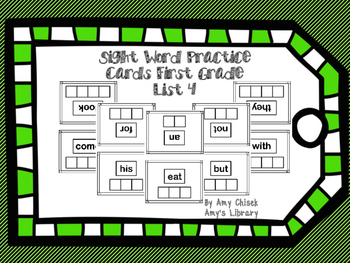 Sight Word Practice Cards First Grade List 4