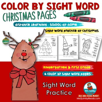 Sight Word Practice | Christmas Color Pages | Reading