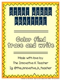 Pre-K & Kindergarten Sight Word: Color Find Trace Write (Set 1)