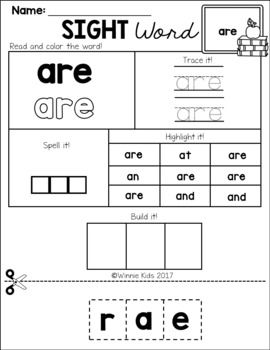 Sight Word Practice Cut and Paste - Primer