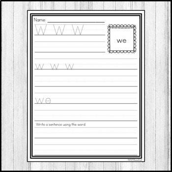 """Sight Word Practice Dolch 3/4"""" Lines BUNDLE"""
