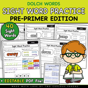 Sight Word Practice (Dolch) - BUNDLE + EDITABLE PDF FILES!