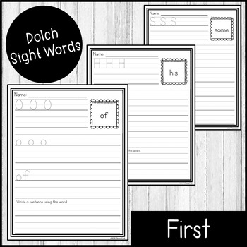 "Sight Word Practice Dolch First 3/4"" Lines"