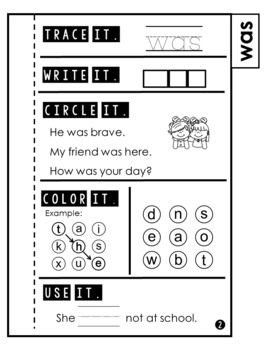 Sight Word Practice   Dolch Primer 10   Tab Book   Sight Word Books