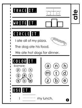 Sight Word Practice | Dolch Primer 2 | Tab Book