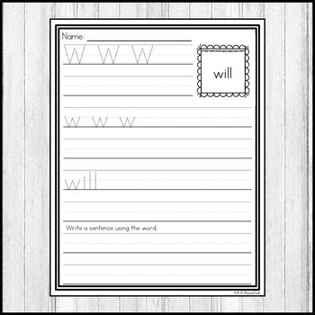 """Sight Word Practice Dolch Primer 3/4"""" Lines"""