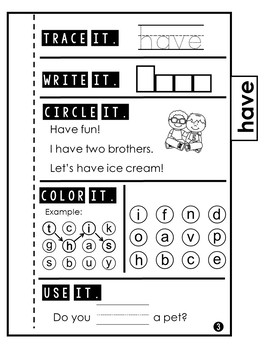 Sight Word Practice | Dolch Primer 4 | Tab Book