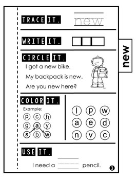 Sight Word Practice | Dolch Primer 5 | Tab Book