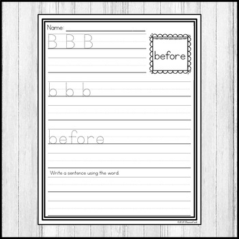 """Sight Word Practice Dolch Second 3/4"""" Lines"""
