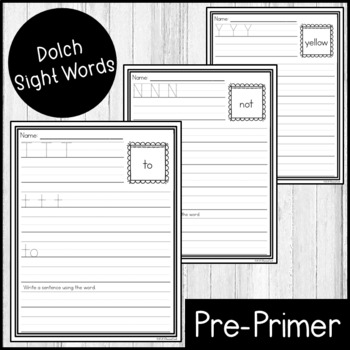 """Sight Word Practice Dolch PrePrimer 3/4"""" Lines"""