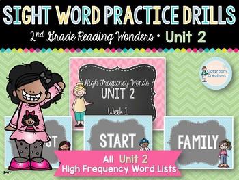 Sight Word Practice Drills: 2nd Grade Reading Wonders UNIT 2