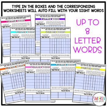 Sight Word Practice EDITABLE (Trace it. Write it. Build it. Find it. Use it.)