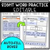Sight Words Practice EDITABLE (Trace it. Write it. Build i