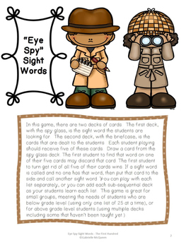 "Sight Word Game- ""Eye"" Spy Sight Words"