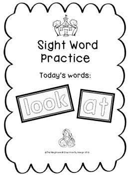 """Sight Word Practice Featuring """"at & look"""""""