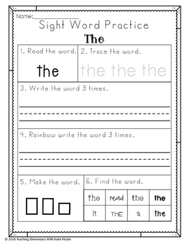 Sight Word Practice: First 100 Sight Words: 100 Worksheets!
